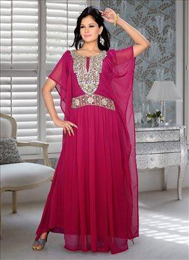 Red Georgette Kaftan Dress