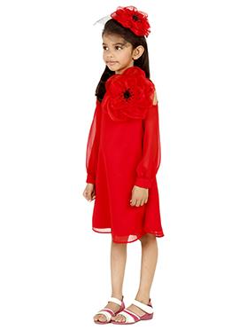 Red Georgette Kids Dress