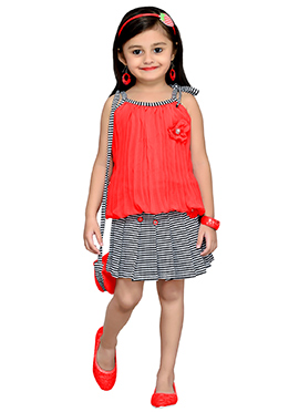 Red Georgette Kids SKirt Set