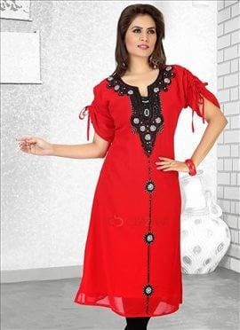 Red Georgette Kurti