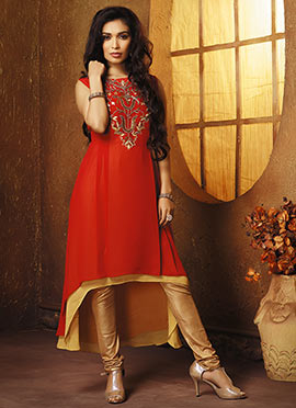 Red Georgette Layered Tunic