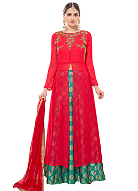 Red Georgette Long Choli Umbrella Lehenga
