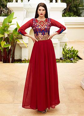 Red Georgette N Art Silk Anarkali Gown