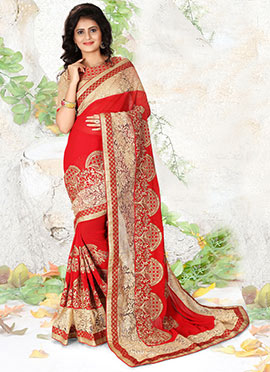 Red Georgette N Net Saree