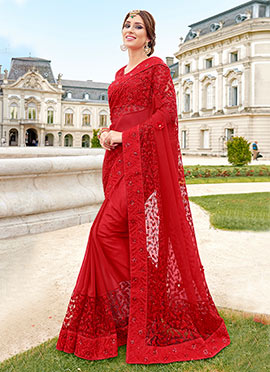 Red Georgette Net Saree