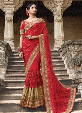 Red Georgette Net Saree
