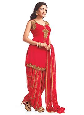 Red Georgette Patiala Suit