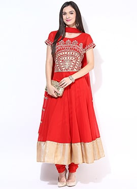 Red Georgette Plus Size Anarkali Suit