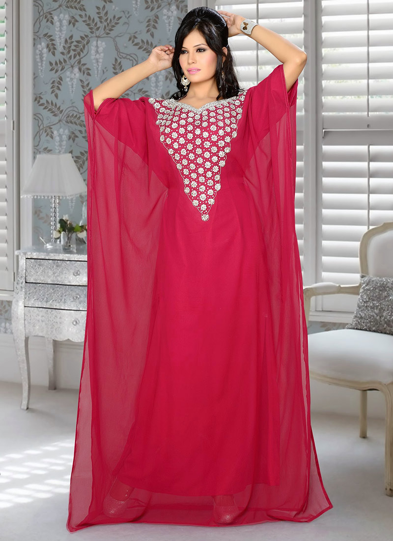 3f288eb3d0 Buy Red Georgette Plus Size Kaftan Dress, Crystals, tops and tunics ...