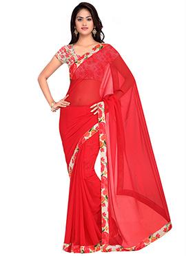 Red Georgette Printed Saree