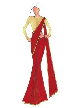 Red Georgette saree with Cream Art Dupion Silk Blouse