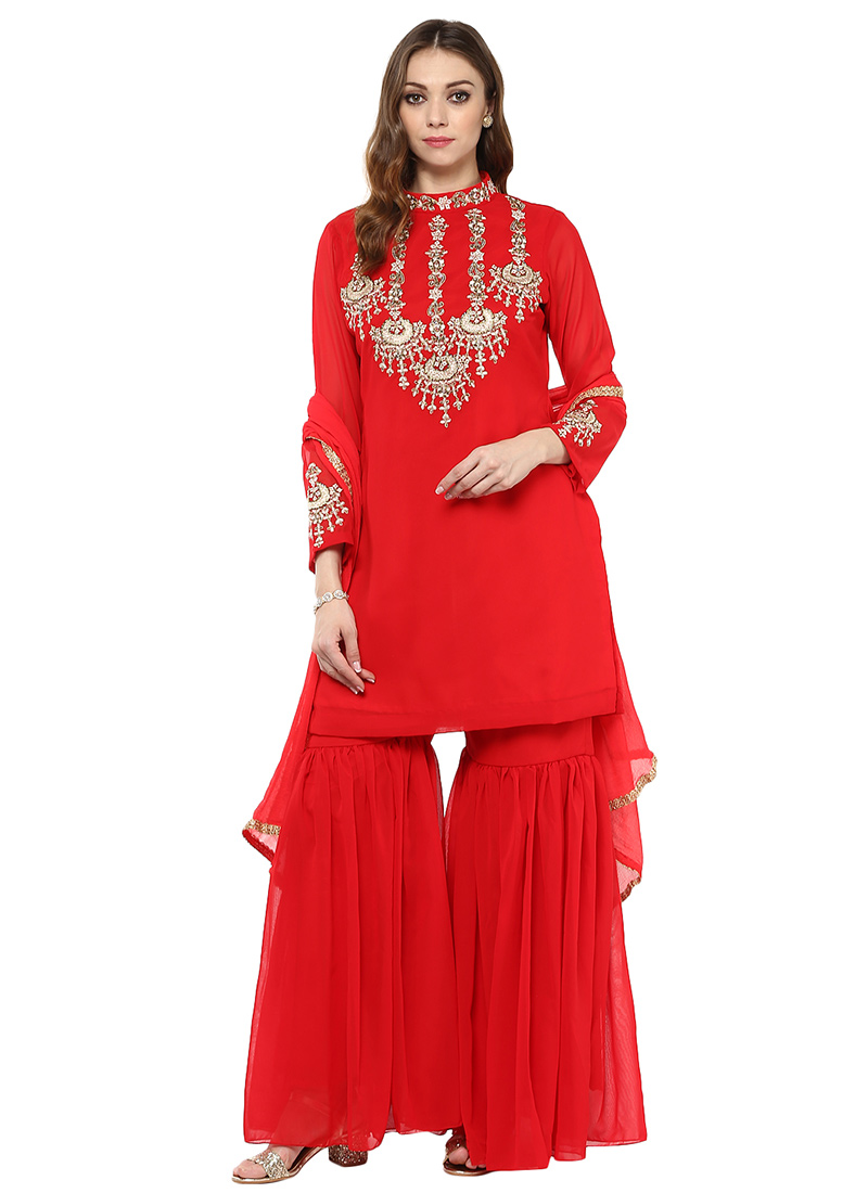 Buy red georgette sharara suit embroidered sharara suit for Sharara dress for wedding online shopping