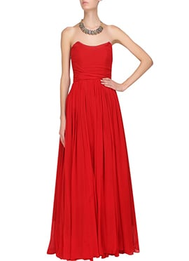 Red Georgette Shoulder less Gown