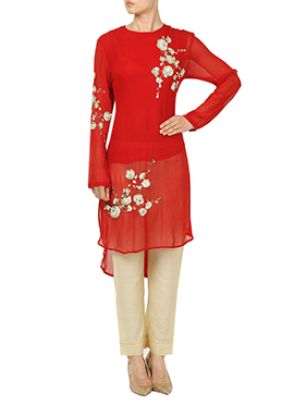 Red Georgette Straight Pant Set