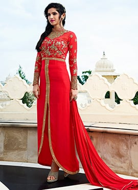 Red Georgette Straight Suit