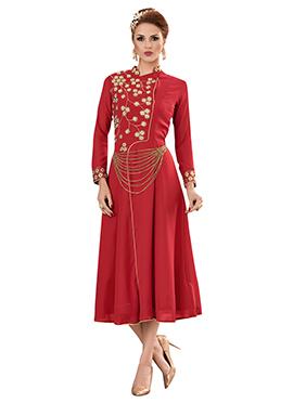 Red Georgette Maxi Dress