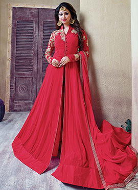 Red Gerogette Center Slit Anarkali Suit