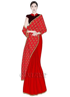 Red Half N Half Art silk Saree