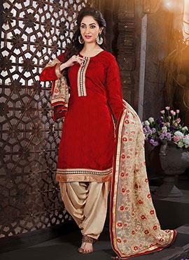 Red Handloom Art Silk Jacquard Patiala Suit