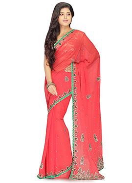 Red Handwork Chiffon Embroidered Saree
