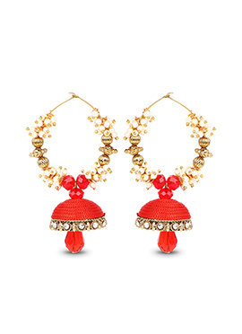 Red Hoops Silk Thread Earrings