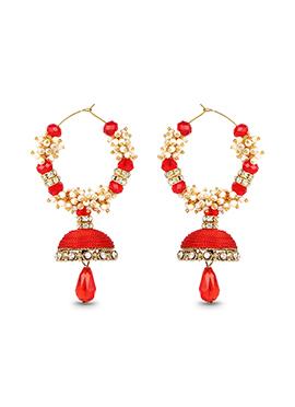 Red Hoops Silk Thread Earrings