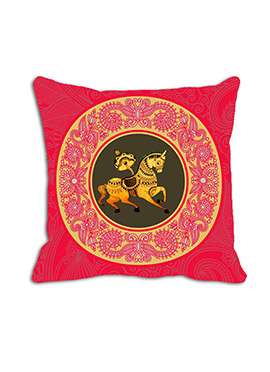 Red Horse Circle Cushion Cover