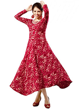 Red Indowestern Tunic