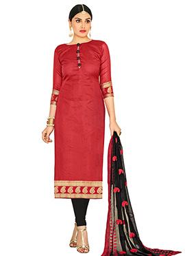 Red Jacquard Art Benarasi Silk Straight Suit