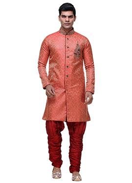 Red Jacquard Breeches Style Sherwani