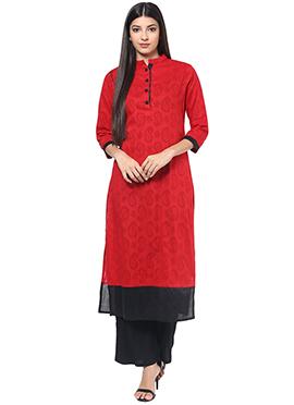 Red Jacquard Cotton Kurti