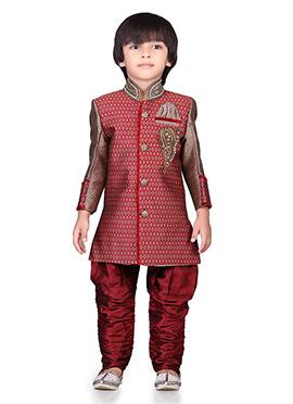 Red Jacquard Kids Sherwani