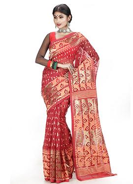 Red Jamdani Saree