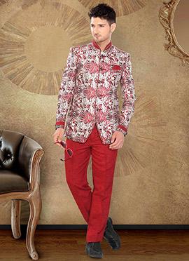 Red Jute Bandhgala Jacket