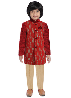 Red Jute Kids Sherwani
