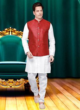Red Jute Nehru Jacket