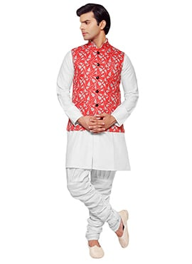 Red Jute Printed Nehru Jacket