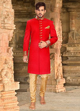 Red Jute Sherwani