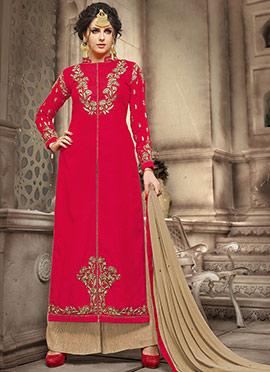Red Jute Silk Palazzo Suit