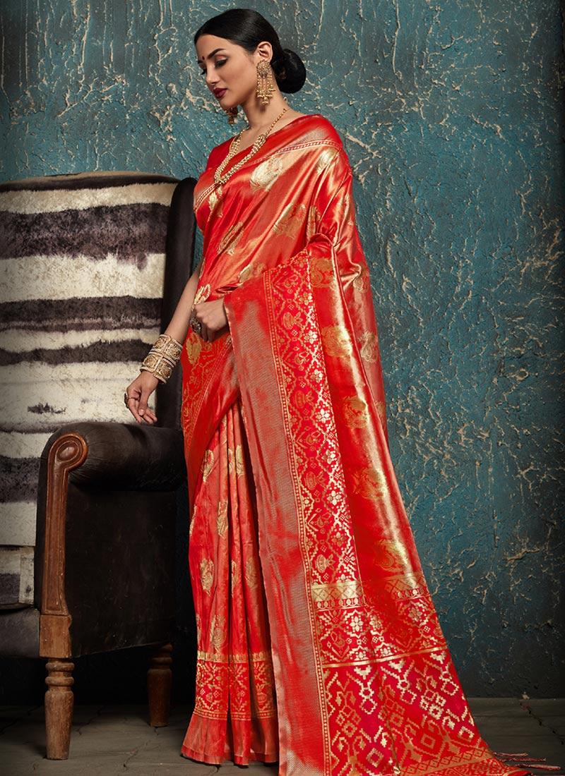 cbe7e215e Buy Red Kancheepuram Art Silk Saree
