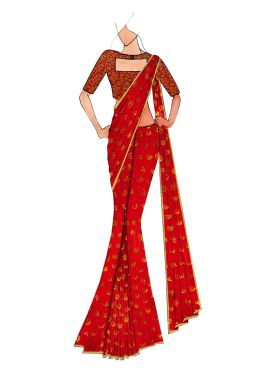 Red Kashi Silk Saree With Red And Gold Art Silk Blouse