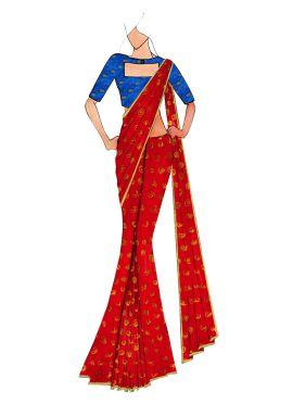 Red Kashi Silk Saree With Royal Blue Art Silk Blouse
