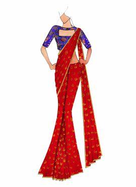 Red Kashi Silk Saree With Royal Blue Brocade Blouse