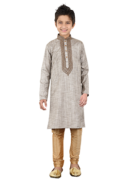 Red Khadi Cotton Kids Kurta Pyjama