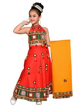 Red Kids A Line Lehenga Choli