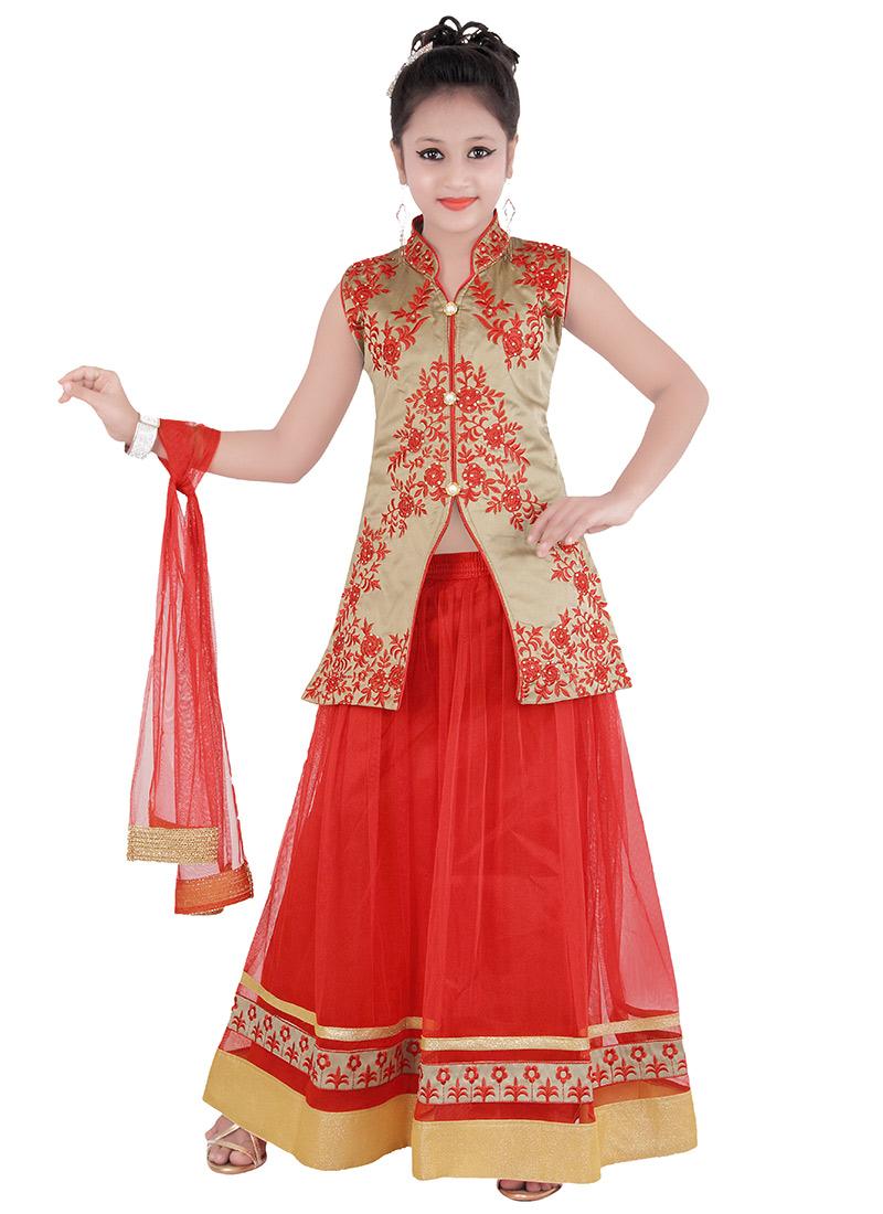 Buy Red Kids Lehenga Choli Embroidered Girls Lehenga
