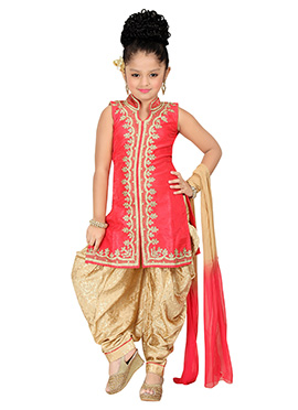 Carrot Red Kids Patiala Suit