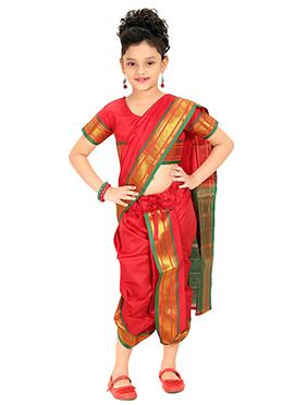 Red Kids Readymade Saree