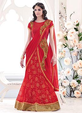 Red Lehanga Saree