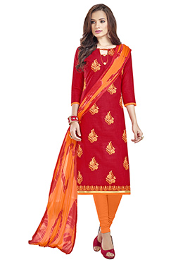 Red Linen Churidar Suit